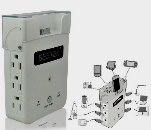 multiple strip Wallmounted power receptacles with